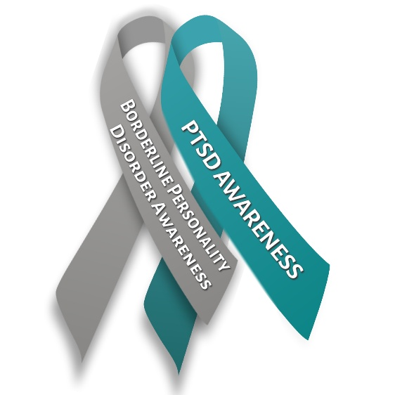 Borderline Personality Disorder and Post-traumatic Stress Disorder ribbons intertwined, with those words written on each, on white background (modified from the gray and teal ribbon by MesserWoland on wikimedia commons) #BPD #borderline #PTSD