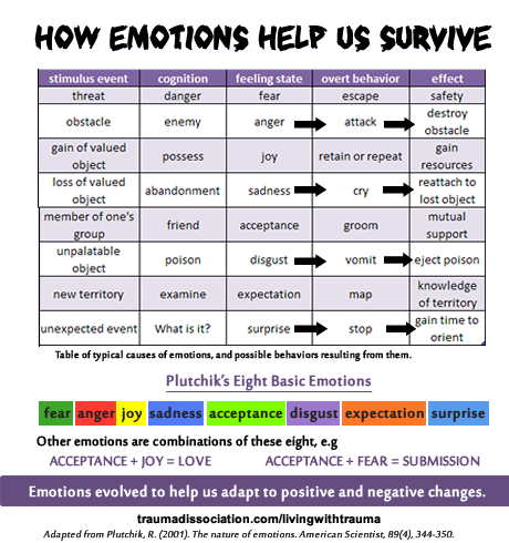 Emotions evolved to help us survive- Plutnick's Nature of Emotions explained