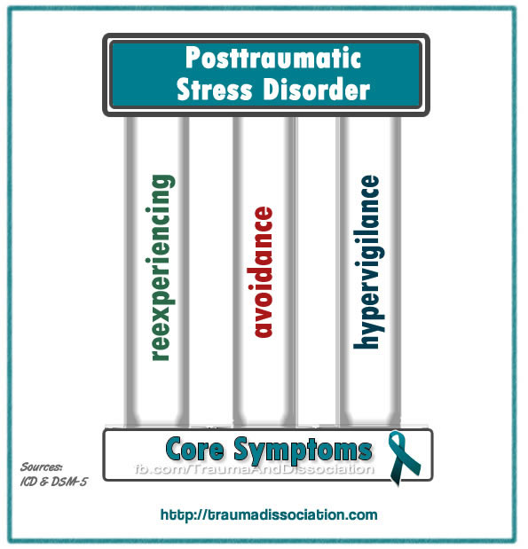 There are 3 groups of PTSD symptoms - hypervigilance, reexperiencing and avoidance