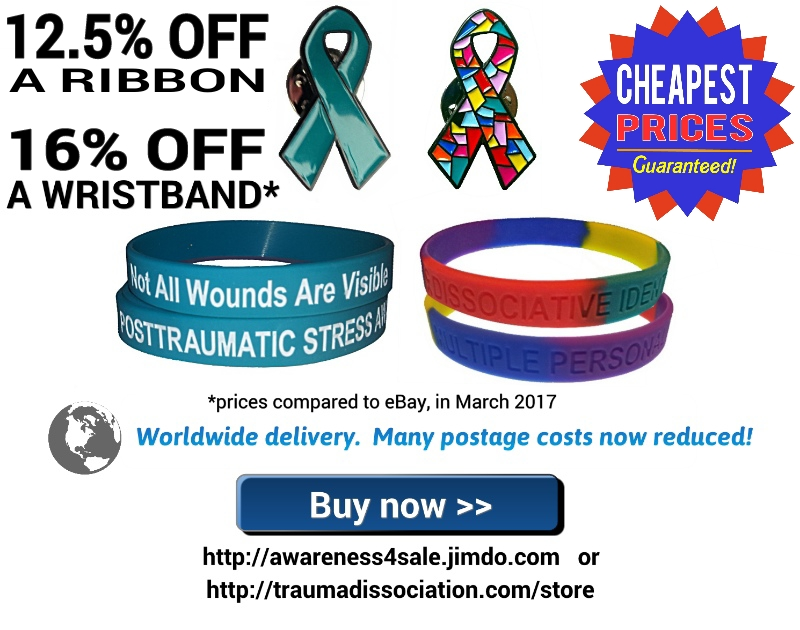 Dissociative Identity Disorder awareness ribbons (lapel pin badges)