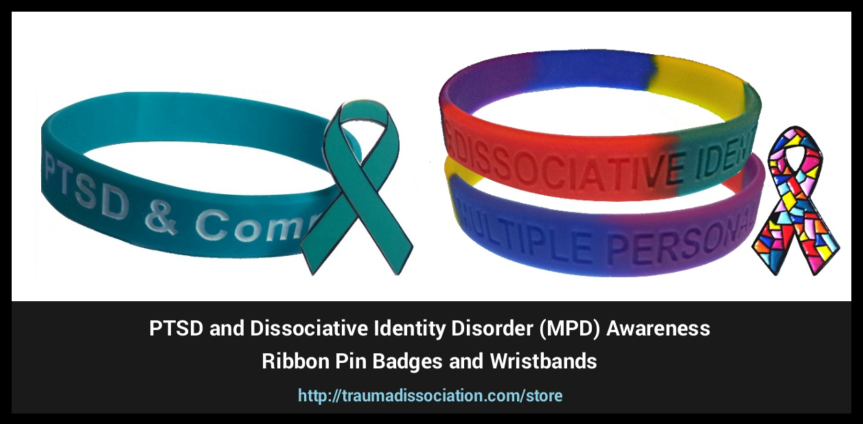 Dissociative Identity Disorder, PTSD and Complex PTSD teal lapel pins and awareness wristband set for sale