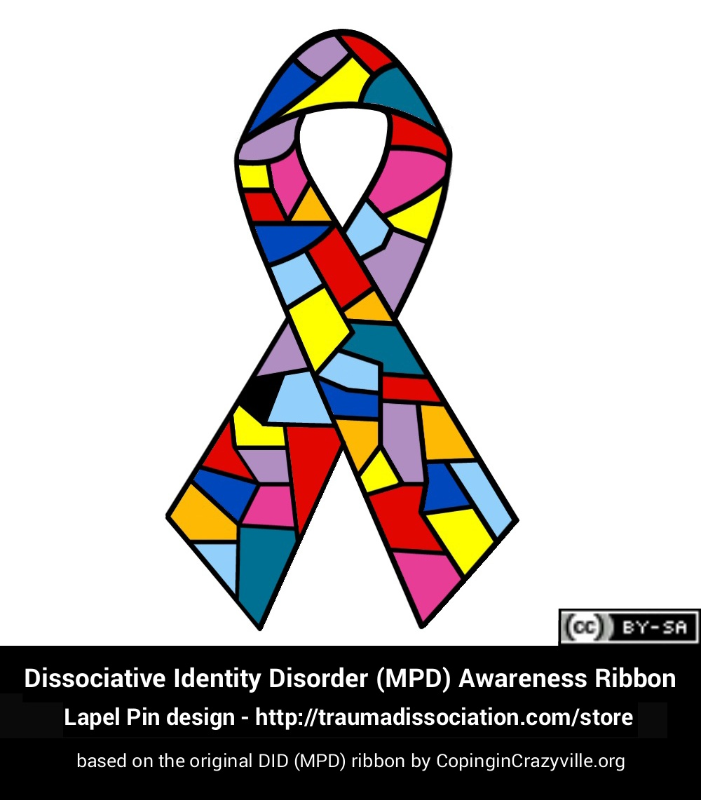 lapel pin design for Dissociative Identity Disorder ribbon - based on CopinginCrazyville's original