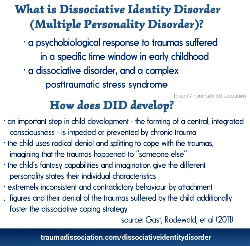 "the state of multiple personality disorder in united states Dissociative identity disorder was previously referred to as multiple personality disorder symptoms of dissociative identity disorder (criteria for diagnosis) include: the existence of two or more distinct identities (or ""personality states""."